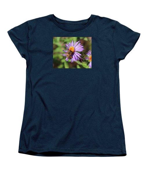 Honeybee On Purple Wild Aster Women's T-Shirt (Standard Cut) by Lucinda VanVleck