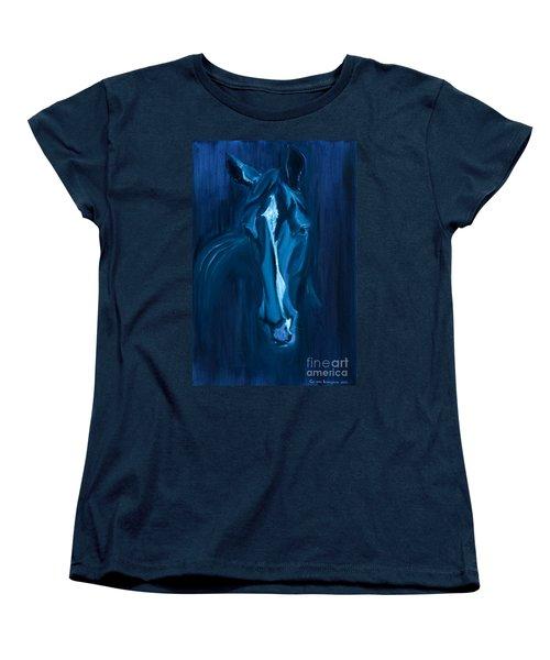 Women's T-Shirt (Standard Cut) featuring the painting horse - Apple indigo by Go Van Kampen