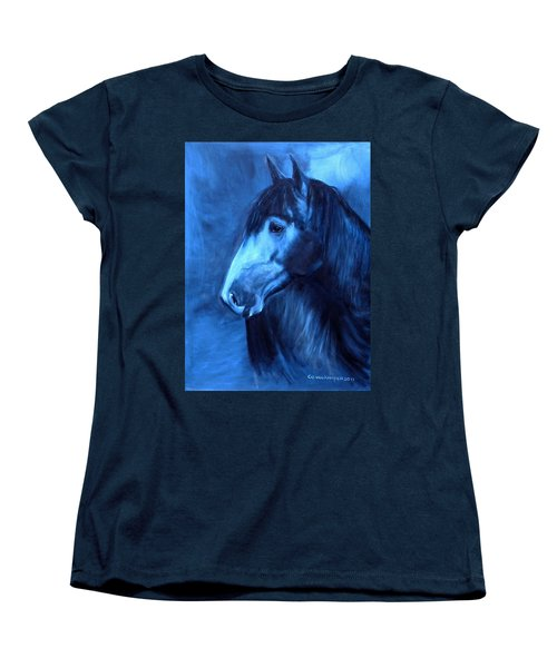 Women's T-Shirt (Standard Cut) featuring the painting Horse - Carol In Indigo by Go Van Kampen