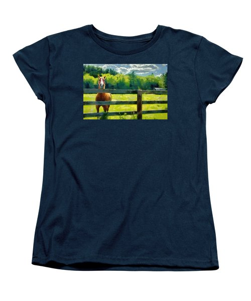 Women's T-Shirt (Standard Cut) featuring the painting Horse In The Field by Jeff Kolker
