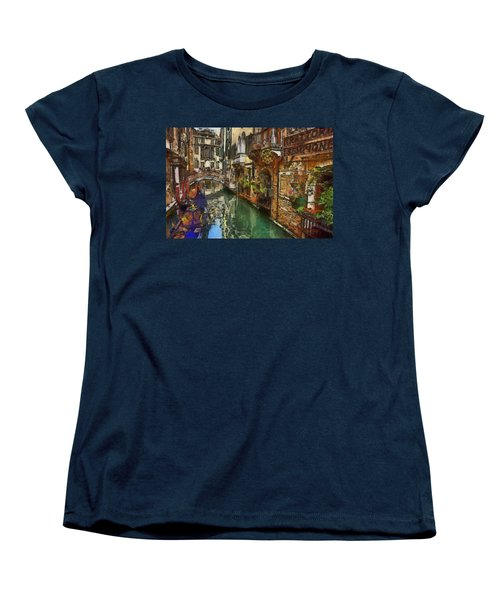 Women's T-Shirt (Standard Cut) featuring the painting Houses In Venice Italy by Georgi Dimitrov