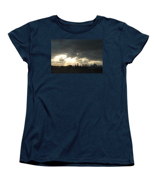 Women's T-Shirt (Standard Cut) featuring the photograph Houston Refinery At Dusk by Connie Fox