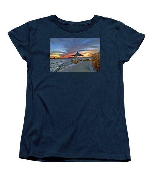 Hudson River Fiery Sky Women's T-Shirt (Standard Cut) by Jeffrey Friedkin