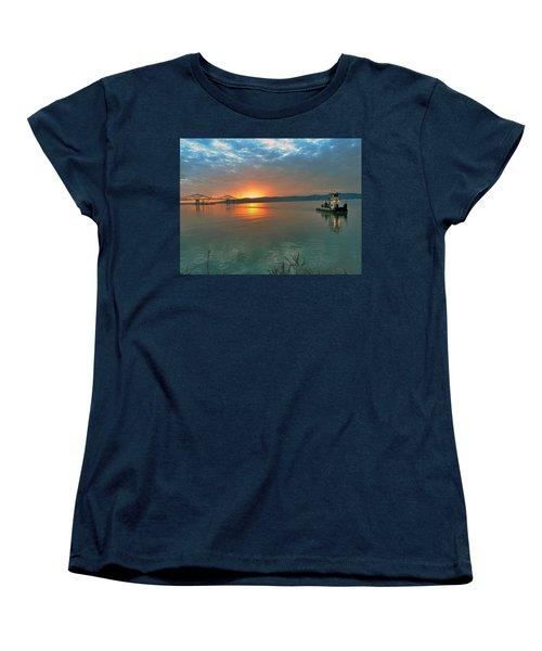 Hudson River Sunset Women's T-Shirt (Standard Cut) by Jeffrey Friedkin