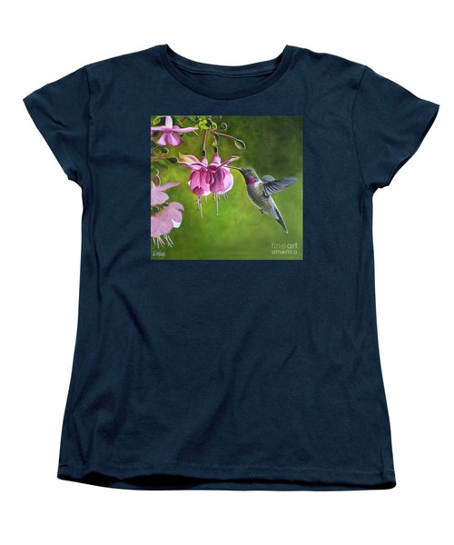 Women's T-Shirt (Standard Cut) featuring the painting Hummingbird And Fuschia by Debbie Hart