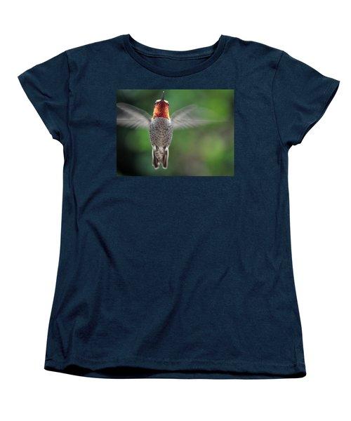 Women's T-Shirt (Standard Cut) featuring the photograph Hummingbird In Flight Male Anna by Jay Milo
