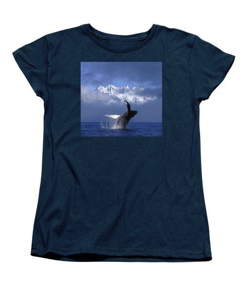 Humpback Whale Breaches In Clearing Fog Women's T-Shirt (Standard Fit)