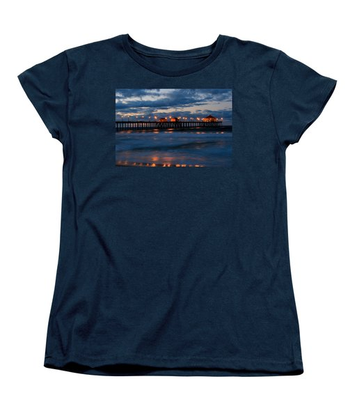 Huntington Beach Pier Lights  Women's T-Shirt (Standard Cut) by Duncan Selby