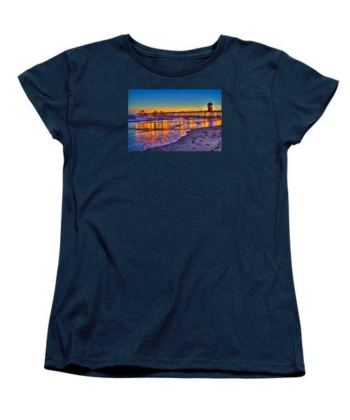 Women's T-Shirt (Standard Cut) featuring the photograph Huntington Beach Pier Sundown by Jim Carrell