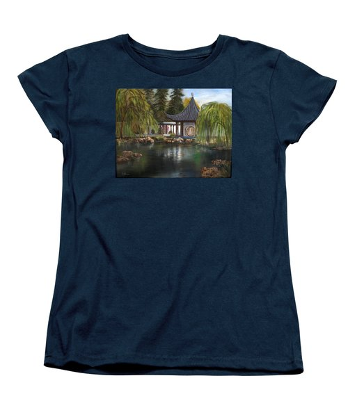 Women's T-Shirt (Standard Cut) featuring the painting Huntington Chinese Gardens by LaVonne Hand