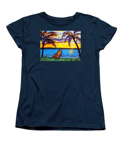 Women's T-Shirt (Standard Cut) featuring the painting Hurry Sundown by Ecinja Art Works