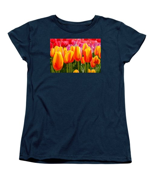 Women's T-Shirt (Standard Cut) featuring the painting Hybrid Tulips by Tim Gilliland