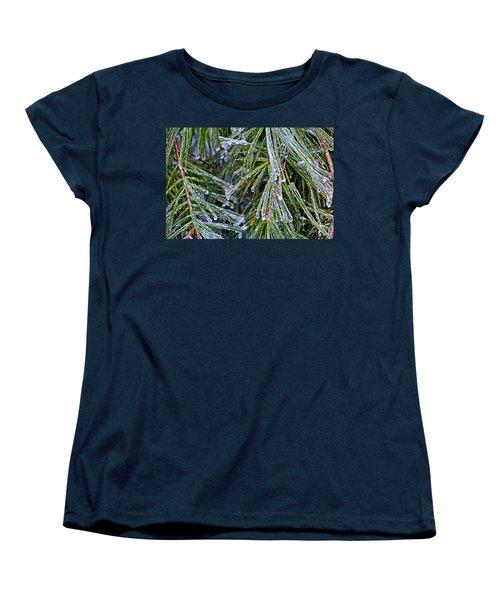 Ice On Pine Needles  Women's T-Shirt (Standard Cut) by Daniel Reed