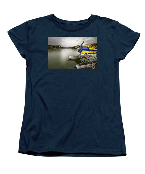 Idle Float Plane At Juneau Airport Women's T-Shirt (Standard Cut) by Darcy Michaelchuk