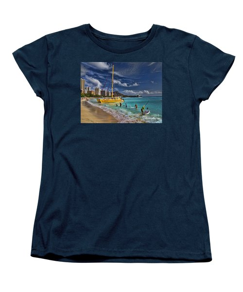 Idyllic Waikiki Beach Women's T-Shirt (Standard Cut) by David Smith