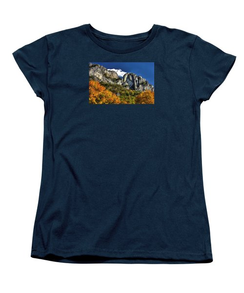 Imposing Seneca Rocks - Seneca Rocks National Recreation Area Wv Autumn Mid-afternoon Women's T-Shirt (Standard Cut) by Michael Mazaika