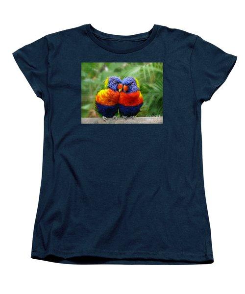 In Love Lorikeets Women's T-Shirt (Standard Cut) by Peggy Franz