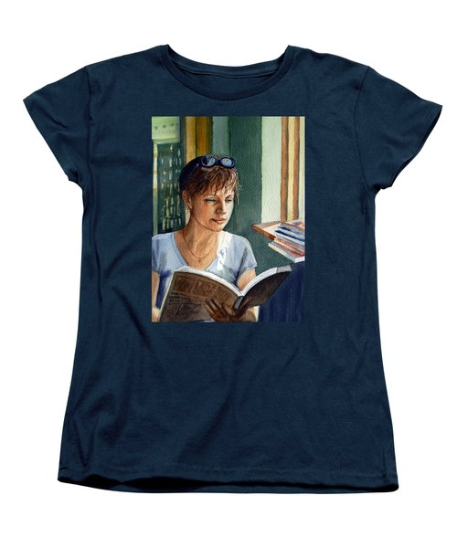 Women's T-Shirt (Standard Cut) featuring the painting In The Book Store by Irina Sztukowski