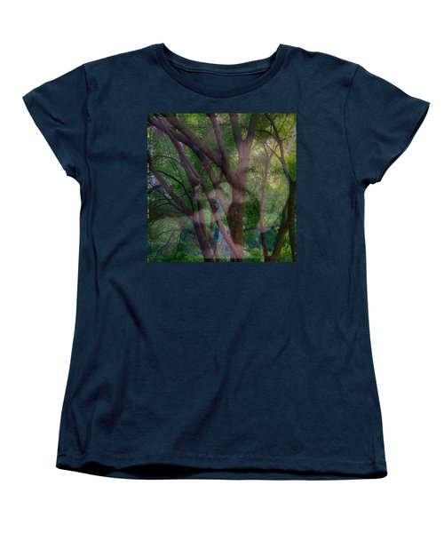In The Forest Self-portrait With Ferret Women's T-Shirt (Standard Cut) by Anna Porter