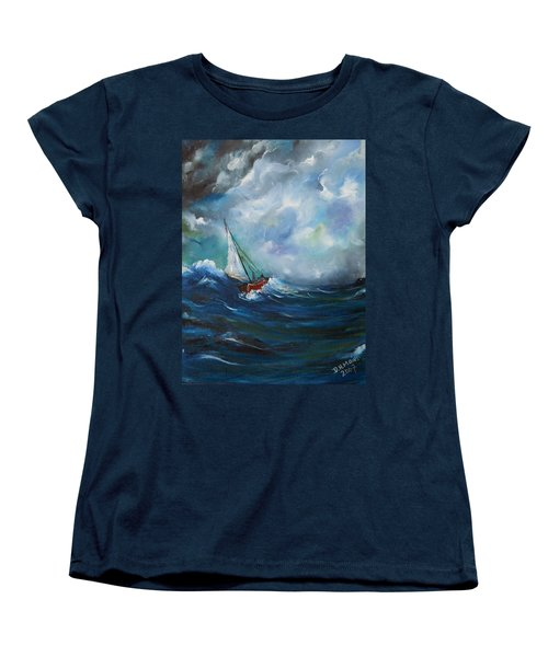 Women's T-Shirt (Standard Cut) featuring the painting In The Storm by Dorothy Maier
