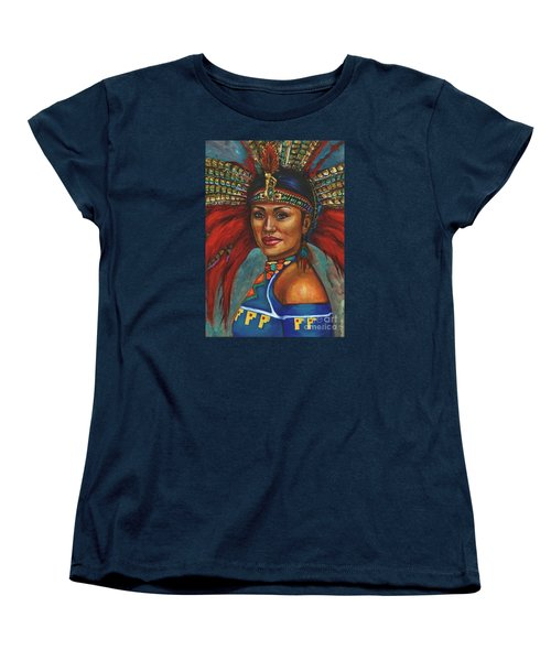 Women's T-Shirt (Standard Cut) featuring the painting Indian Princess Portrait by Alga Washington