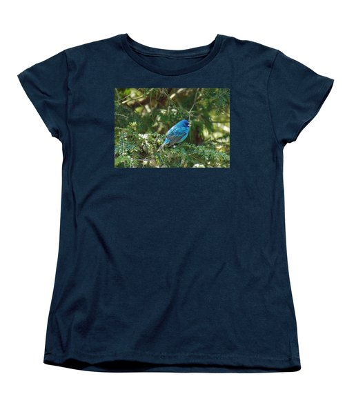 Indigo Bunting Visit Women's T-Shirt (Standard Cut) by Brenda Brown