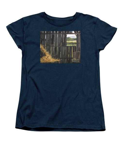 Women's T-Shirt (Standard Cut) featuring the painting Barn -inside Looking Out - Summer by Jan Dappen