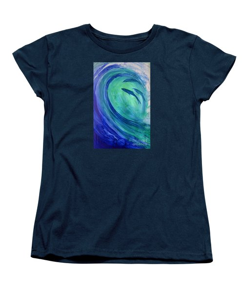 Women's T-Shirt (Standard Cut) featuring the painting Inside The Curl by Joan Hartenstein