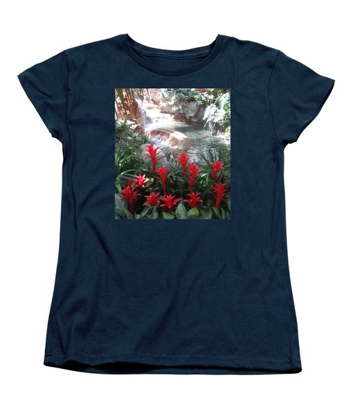 Women's T-Shirt (Standard Cut) featuring the photograph Interior Decorations Water Fall Flowers Lights Shades by Navin Joshi