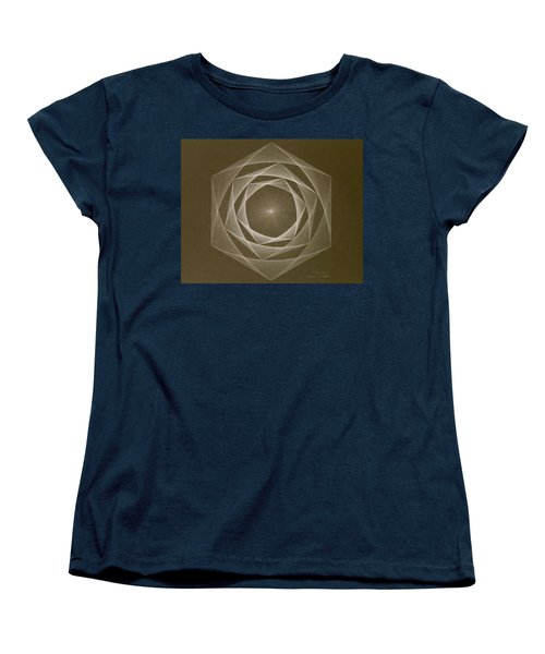 Women's T-Shirt (Standard Cut) featuring the drawing Inverted Energy Spiral by Jason Padgett