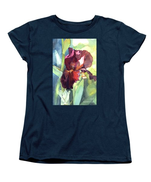 Women's T-Shirt (Standard Cut) featuring the painting Iris In Red And Burgundy by Greta Corens