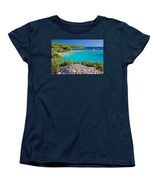 Island Murter Turquoise Lagoon Beach Women's T-Shirt (Standard Cut) by Brch Photography