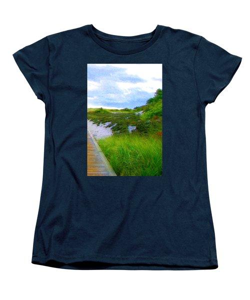 Island State Park Boardwalk Women's T-Shirt (Standard Cut) by Pamela Hyde Wilson