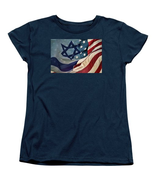 Israeli American Flags Women's T-Shirt (Standard Cut) by Ken Smith