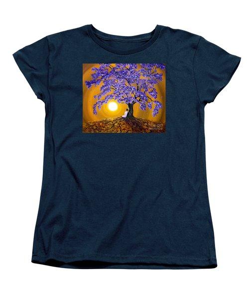 Jacaranda Sunset Meditation Women's T-Shirt (Standard Cut) by Laura Iverson