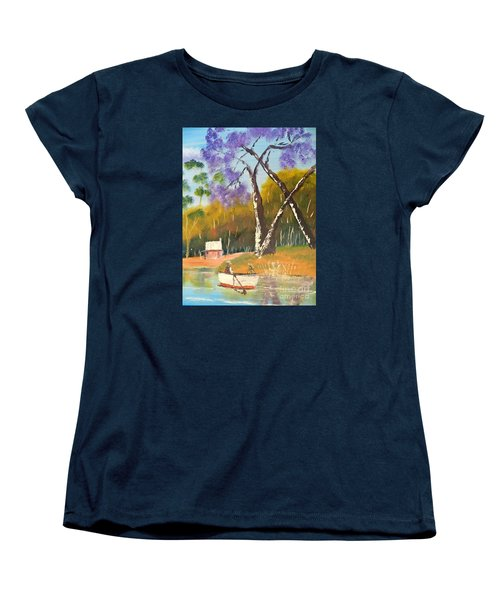 Women's T-Shirt (Standard Cut) featuring the painting Jacaranda Tree by Pamela  Meredith