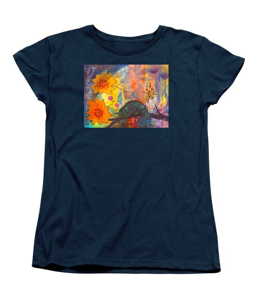 Women's T-Shirt (Standard Cut) featuring the painting Jackson's Chameleon by Robin Maria Pedrero