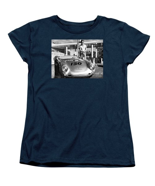 James Dean Filling His Spyder With Gas Black And White Women's T-Shirt (Standard Cut)