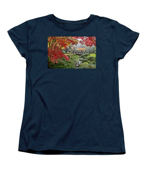 Women's T-Shirt (Standard Cut) featuring the photograph Japanese Maple Trees By The Bridge In Fall by JPLDesigns