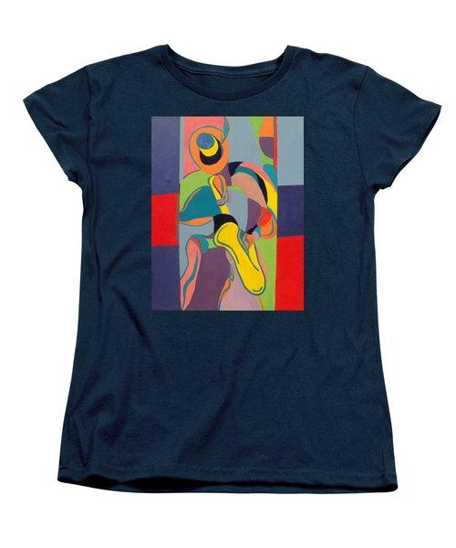 Jazzamatazz Saxophone Women's T-Shirt (Standard Cut) by Angelo Thomas