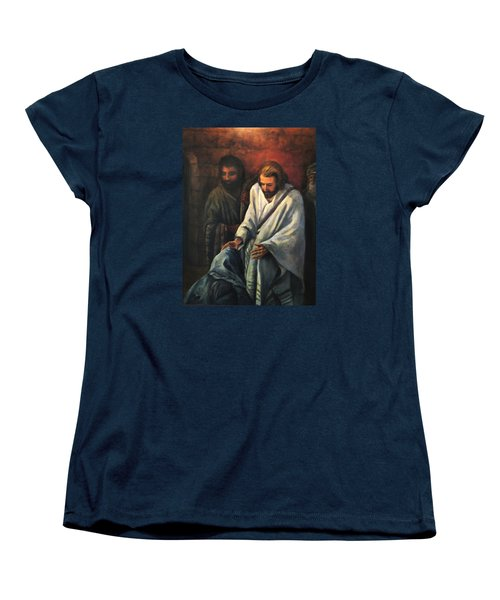 Jesus Healing Beggar Women's T-Shirt (Standard Cut) by Donna Tucker