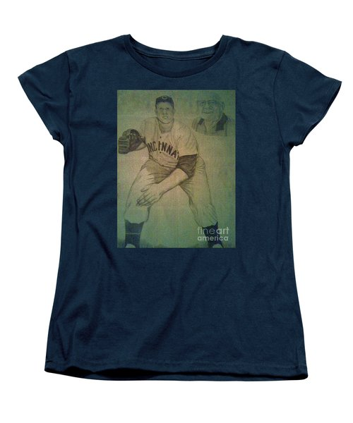Women's T-Shirt (Standard Cut) featuring the drawing Joe Nuxhall by Christy Saunders Church