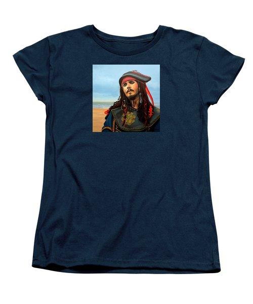 Johnny Depp As Jack Sparrow Women's T-Shirt (Standard Cut) by Paul Meijering