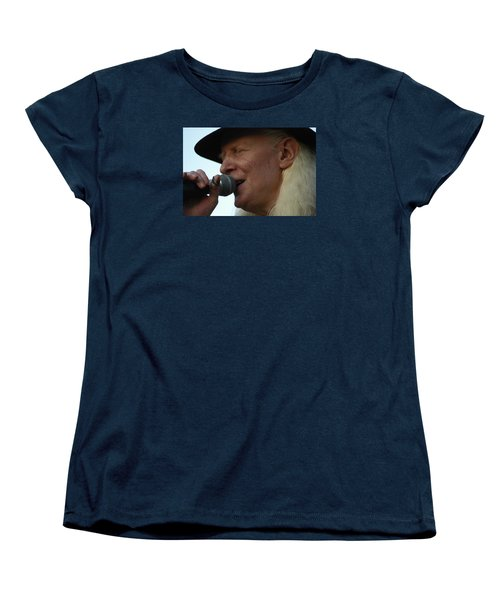 Women's T-Shirt (Standard Cut) featuring the photograph Johnny Winter Sings by Mike Martin