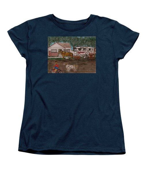 Johnsons Milk Wagon Pulled By A Horse  Women's T-Shirt (Standard Cut) by Kathy Marrs Chandler