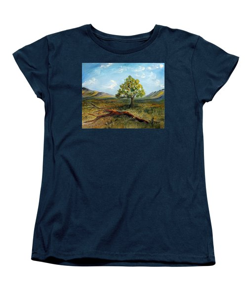 Women's T-Shirt (Standard Cut) featuring the painting Jubilant Fields by Meaghan Troup