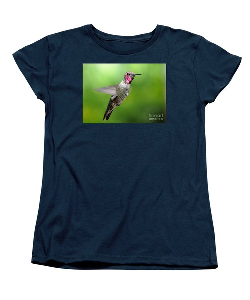 Women's T-Shirt (Standard Cut) featuring the photograph Juvenile Male Anna's In Flight by Jay Milo