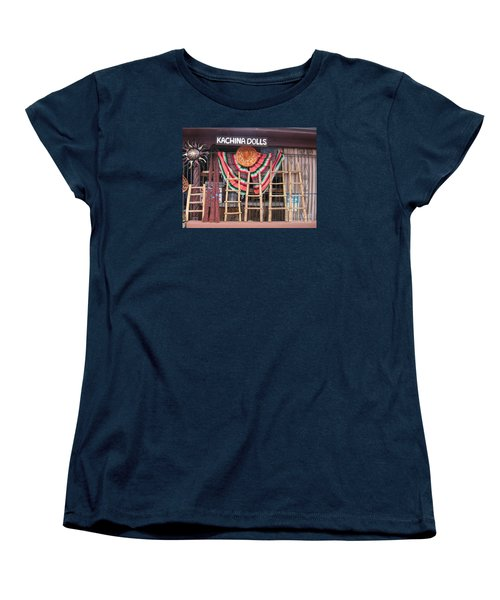 Women's T-Shirt (Standard Cut) featuring the photograph Kachina Dolls Local Store Front by Dora Sofia Caputo Photographic Art and Design