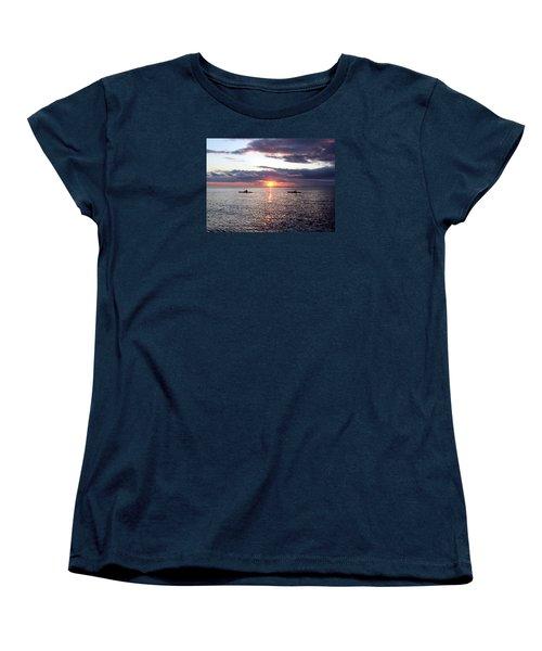 Kayaks At Sunset Women's T-Shirt (Standard Cut) by David T Wilkinson