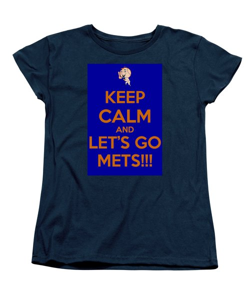 Keep Calm And Lets Go Mets Women's T-Shirt (Standard Cut) by James Kirkikis